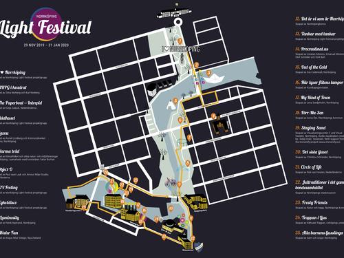 Map of Norrköping Light Festival 2019-2020
